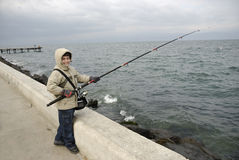 Boy fishing Stock Images