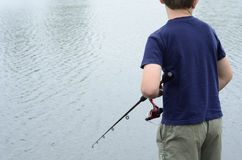 Boy fishing in bass dam or lake Stock Photo
