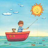 Boy fishing in a boat. With his dog on a summer sunny day. Watercolor illustration Stock Photography