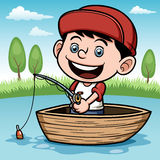 Boy fishing in a boat. Vector illustration of Boy fishing in a boat Royalty Free Stock Image