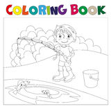 A boy is fishing. book coloring book. Vector illustration Stock Photography