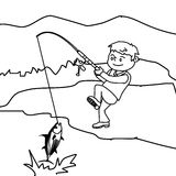Boy fishing fish coloring page Stock Image