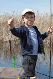 Boy while fishing Royalty Free Stock Photos