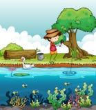 A boy fishing Stock Photos