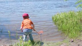 Boy fishing net on the river Bank. Beautiful summer landscape. Outdoor recreation. Boy fishing net on the river Bank. Outdoor recreation. Beautiful summer stock video footage
