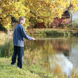 Boy fishing on pond Stock Images