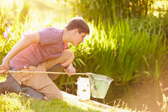 Boy Fishing In Pond With Net And Jar Stock Images