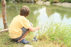 Boy fishing on pond Royalty Free Stock Images