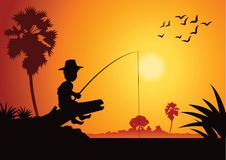 Boy fishing at riverbank to catch fish,around with country rural. Life,silhouette style,vector illustration Royalty Free Stock Image