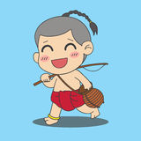 Boy with fishing rod Royalty Free Stock Images