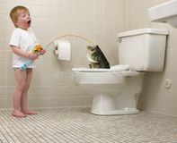 Boy fishing in toilet. Little boy catching a bass in family toilet royalty free stock photos