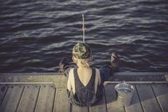 Boy, Fishing, Water, Summer Royalty Free Stock Image