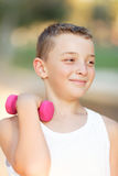 Boy and Fitness in the Park Stock Photo