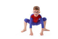Boy of five years in the costume of Spider-Man Royalty Free Stock Photography