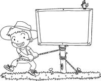 A Boy Fixing a Board. Sketch of A Boy Fixing a Board on white background Stock Photos