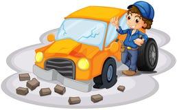 A boy fixing a broken orange car. Illustration of a boy fixing a broken orange car on a white background royalty free illustration