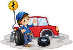 A boy fixing a red car. Illustration of a boy fixing a red car on a white background Royalty Free Stock Photos