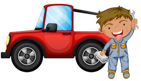 A boy fixing the red jeep. Illustration of a boy fixing the red jeep on a white background royalty free illustration