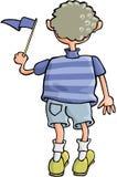 Boy with Flag. Cartoon artwork line-art stock illustration