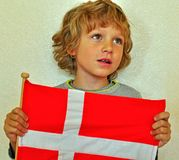 Boy with a flag Royalty Free Stock Photo