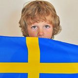 Boy with a flag Royalty Free Stock Images