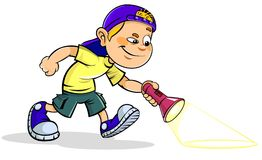 Boy with Flashlight. Vector illustration of a cartoon Boy holding Flashlight in His Hand Royalty Free Stock Image