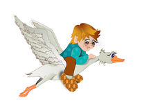 The boy flies on a goose Royalty Free Stock Photography