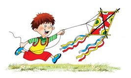 Boy flies   kite  grass   sky   cartoon. Game cheerful drawing Royalty Free Stock Images