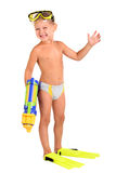 Boy in flippers and a mask with a water pistol. Little boy in flippers and a mask with a water pistol on the white background Stock Image