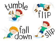Boy flipping and falling down. Illustration Royalty Free Stock Image