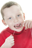 Boy Flossing Royalty Free Stock Images