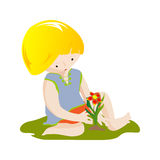 Boy with flower Royalty Free Stock Images