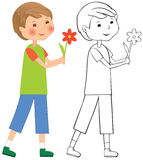 Boy with flower Stock Images