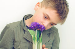Boy with the flowers Stock Photo