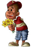 The boy with flowers Royalty Free Stock Images