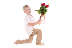 Boy with flowers Royalty Free Stock Photos