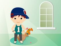 Boy and  flowers-2 Royalty Free Stock Images