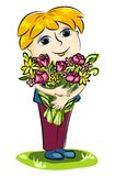 Boy and flowers. The boy with a bunch of flowers. Cartoon illustration Royalty Free Stock Photography