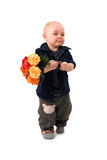 Boy with flowers Stock Images