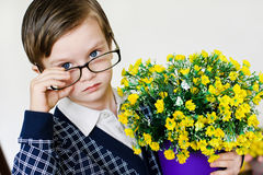 Boy with a flowers Royalty Free Stock Images