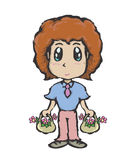 Boy and flowers Stock Photo