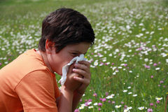Boy  and flowers with a handkerchief while sne. Allergic child to pollen and flowers with a handkerchief while sneeze in the middle of the Minesweeper Stock Photo