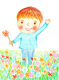 Boy flowers oil pastel painted Royalty Free Stock Image