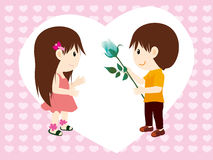 Boy and flowers to girl. The boy in the field with flowers Vector Illustration