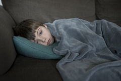 Boy with flu Royalty Free Stock Photo