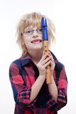 Boy with a flute Royalty Free Stock Images