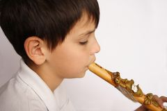 Boy and Flute. Child playing a son with funny flute Royalty Free Stock Photo