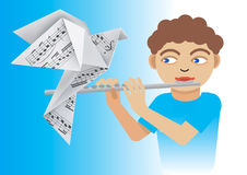 Boy with flute and origami dove. Royalty Free Stock Photo