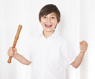 Boy with flute Royalty Free Stock Photos