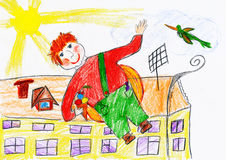 Boy fly with airscrew on his back, child drawing object on paper, hand drawn art picture Royalty Free Stock Photo